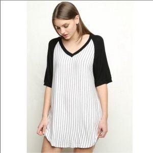 Brandy Melville Baseball Striped T Shirt Dress